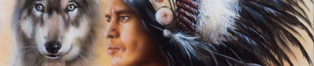 Indianer mit Wolf